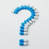 Pillen-Fragezeichen Lizenzfreie Stockbilder