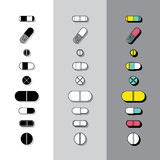 Pillen-Ikonen Lizenzfreies Stockfoto