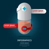 Pillen-Kapsel Infographic-Design Stockfoto
