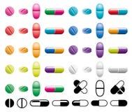 Pillen, Kapseln und Schwarzweiss-Symbole stock abbildung