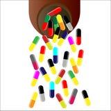 Pillen/Medikation, die aus Flasche gießt stock abbildung