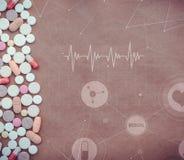 Pillen Medizinische Tabletten und medizinische Ikonen, Diagramme und Diagramme Stockbilder