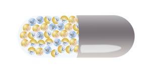 Pillen met nanorobots in de vorm van kleine spinnen Royalty-vrije Stock Foto's