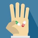 Pillen op hand Stock Fotografie