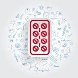 Pillen-Streifen-Vektor-Ikone auf handdrawn Gesundheitswesengekritzelhintergrund lizenzfreie abbildung