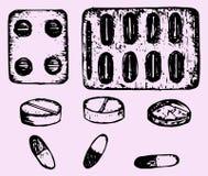 Pillen, tabletten Stock Foto's