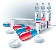 Pillen, tabletten, doos en ampullen. Royalty-vrije Stock Afbeelding