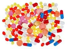 Pillen, tabletten en drugs, medische achtergrond Royalty-vrije Stock Foto's