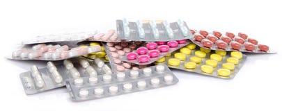 Pillen, Tabletten und Kapseln in den Blisterpackungen Stockbild