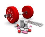 Pillen und Dumbbell als Symbol der Lackierung im Sport Stockbilder