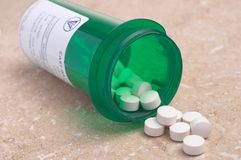 Pillen van de Fles van de Geneeskunde van het Voorschrift Royalty-vrije Stock Fotografie