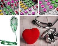 Pillen vom Krankheitsstethoskop und von der medizinischen Sauerstoffmaske medizinisch stockfoto