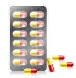 Pillencapsule in blaarpak Royalty-vrije Stock Foto's