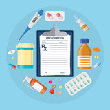 Pillenflaschen, Tabletten mit medizinischer Verordnung Stockfotografie