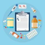 Pillenflessen, tabletten met medisch voorschrift Stock Fotografie