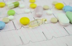 Pillengeneeskunde op cardiodiagram Stock Foto