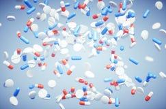 Pillenhintergrundzusammenfassung Stockfoto