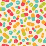 Pillensammlung Medizinische Pillen und nahtloses Muster der Kapseln C stock abbildung