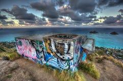 Pillerask som fotvandrar slingan Kailua Hawaii Arkivbilder