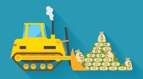 Pilling pengar för bulldozer Arkivbild