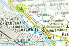 Pillnitz Castle στο χάρτη, Σαξωνία στοκ φωτογραφία με δικαίωμα ελεύθερης χρήσης