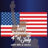 Pillo para el 4 de julio con la bandera americana y el confeti Celebraci?n del D?a de la Independencia de los E.E.U.U. con la ban stock de ilustración
