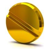 Pillola medica dorata Immagine Stock Libera da Diritti