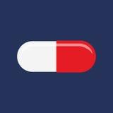 Pillola piana dell'icona Immagine Stock Libera da Diritti