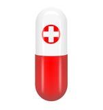 Pillola rossa con la croce rossa Immagine Stock