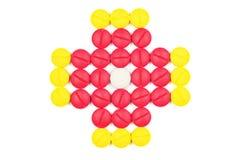 Pillola rossa e gialla Fotografia Stock