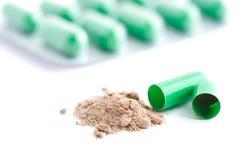 Pillola verde Fotografie Stock