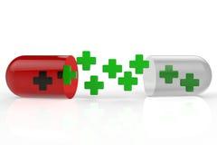Pillola verde della capsula e dell'incrocio Fotografia Stock