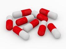 Pillole bianche e rosse isolate su fondo bianco 3d che rendeing royalty illustrazione gratis