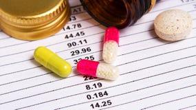 Pillole colorate dal contenitore Immagini Stock Libere da Diritti