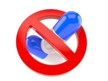 Pillole con il segno severo illustrazione vettoriale