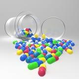 Pillole 3d che si rovesciano dalla bottiglia di pillola su bianco Fotografie Stock