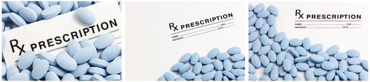 Pillole del cuscinetto di prescrizione della farmacia Fotografia Stock Libera da Diritti