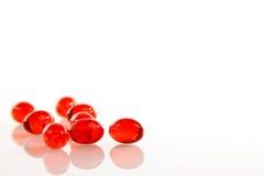 Pillole del gel su bianco Fotografia Stock Libera da Diritti
