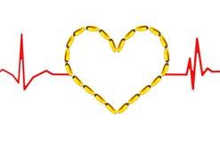 Pillole del Omega con i battimenti di cuore immagini stock