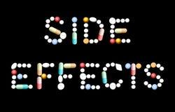Pillole della medicina di effetti collaterali Fotografie Stock