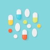 Pillole della medicina Ridurre in pani variopinti e capsule Fotografia Stock Libera da Diritti