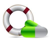 Pillole della salvavita di SOS Immagini Stock