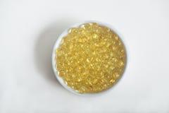 Pillole della vitamina (A, D, E, olio di pesce) Fotografia Stock Libera da Diritti