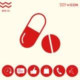 Pillole delle medicine - icona della pillola e della capsula Immagini Stock Libere da Diritti