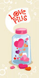 Pillole di amore in bottiglia. Fotografia Stock