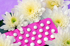 Pillole di contraccettivo orale. Fotografia Stock