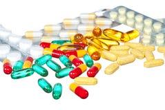 Pillole e ridurre in pani medici Fotografia Stock