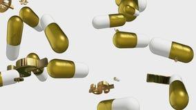 Pillole e simboli di dollaro a caso muoventesi illustrazione vettoriale