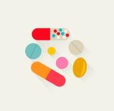 Pillole icona, illustrazione di vettore Immagini Stock