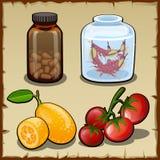 Pillole, limone fresco e pomodori ciliegia royalty illustrazione gratis